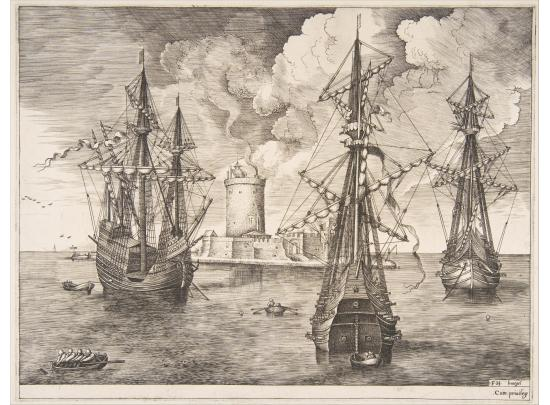 One four-masted and two armed three-masted ships anchored off a fortified island with a lighthouse