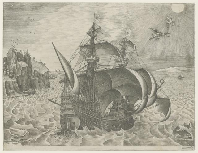 Armed three-masted ship off a coast, with the Fall of Daedalus and Icarus