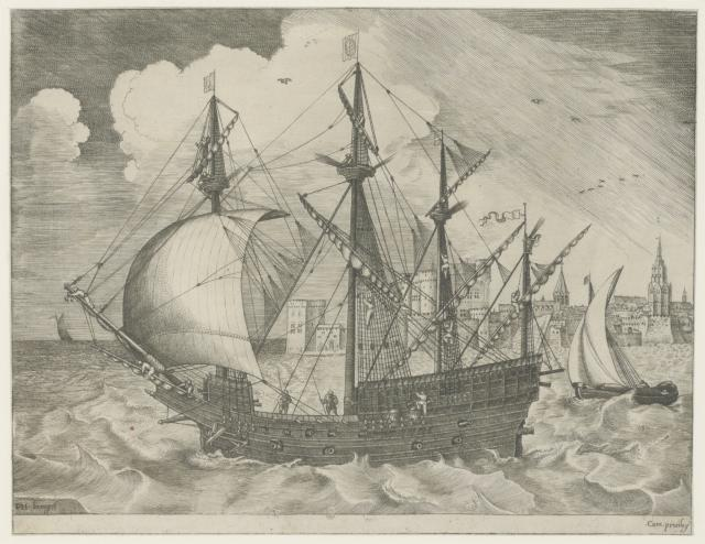 Armed four-masted ship leaving a port