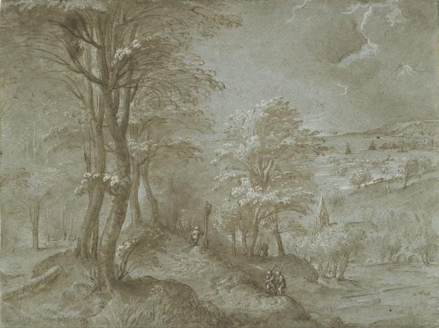 Wooded landscape with a Distant View towards the Sea