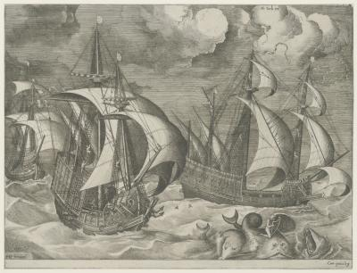 Three caravels in a rising gale, with Arion on a dolphin in the foreground
