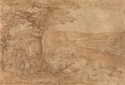 Hilly landscape with Three Pelgrims